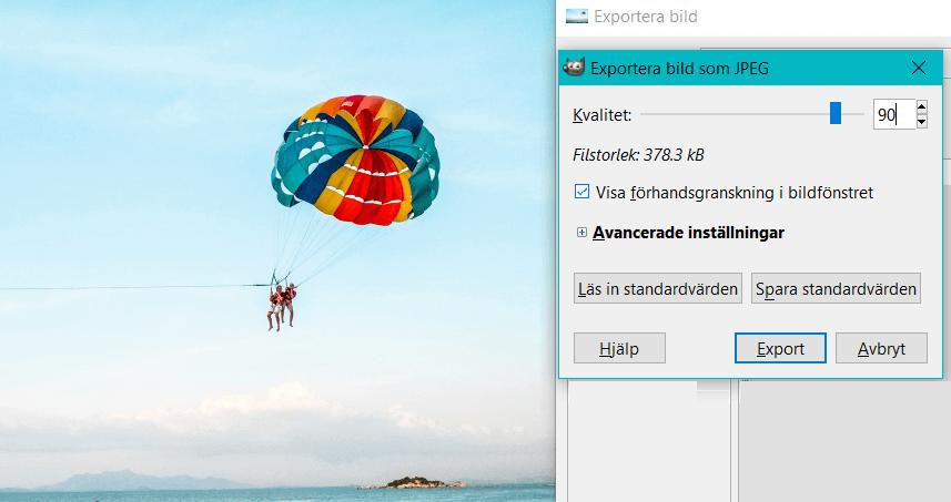 Ändra kvaliteten för en bild i GIMP