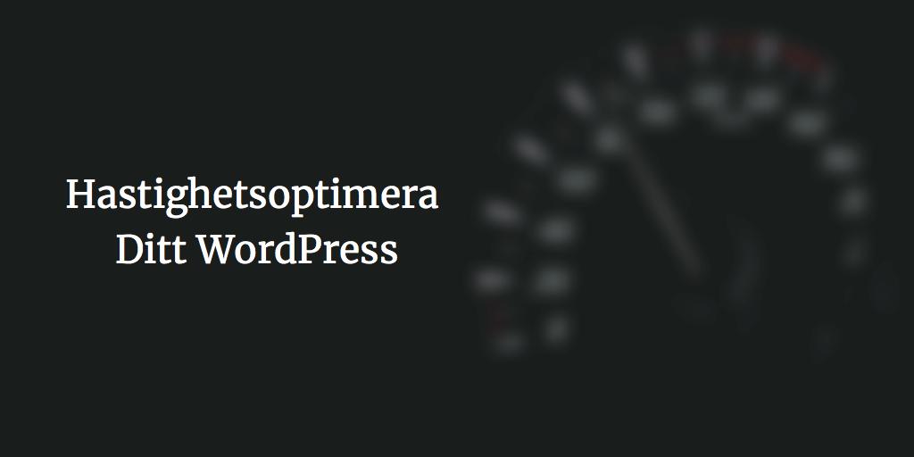 hastighetsoptimera din wordpress-hemsida